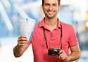 Man Holding Camera and Boarding Pass-SM