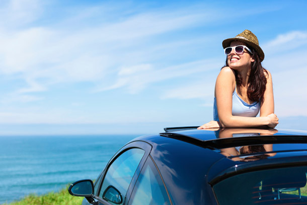 People-Woman Popping Out of Car Sunroof-DD